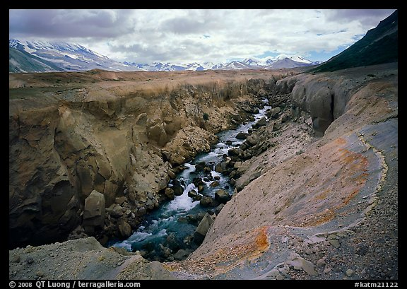 Colorful ash and Lethe River gorge, Valley of Ten Thousand smokes. Katmai National Park (color)