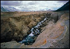 Colorful ash and Lethe River gorge, Valley of Ten Thousand smokes. Katmai National Park, Alaska, USA. (color)
