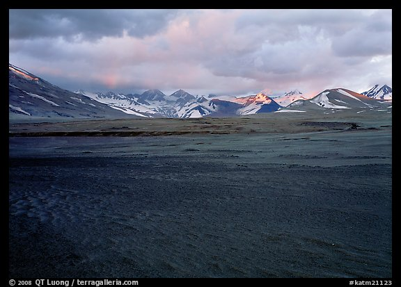 Ash plain, and mountains at sunset, Valley of Ten Thousand smokes. Katmai National Park (color)