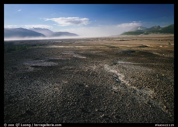 Ash-covered floor of the Valley of Ten Thousand Smokes, evening. Katmai National Park, Alaska, USA.