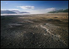 Ash-covered floor of the Valley of Ten Thousand Smokes, evening. Katmai National Park, Alaska, USA. (color)