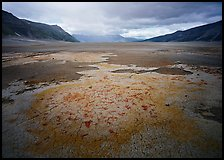 Brightly colored ash in wide plain, Valley of Ten Thousand smokes. Katmai National Park, Alaska, USA. (color)