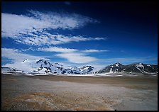 Snow-covered peaks surrounding the arid ash-covered floor of the Valley of Ten Thousand smokes. Katmai National Park ( color)