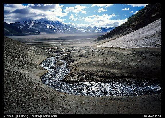 Stream flows from the hills into the floor of the Valley of Ten Thousand smokes. Katmai National Park (color)