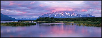 Lake and mountains at sunset. Katmai National Park (Panoramic color)