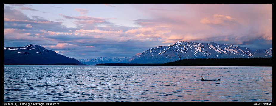 Lake and Mountains with pink clouds at sunset. Katmai National Park (color)