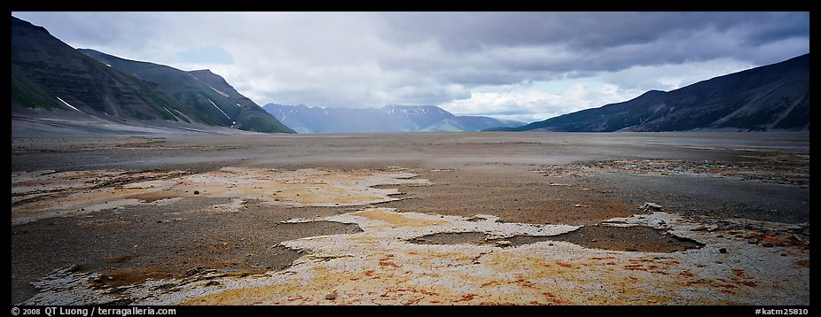 Panoramic Picture Photo Arid Ash Plain Landscape With