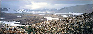 Volcanic landscape with pumice hills surrounding ash valley. Katmai National Park (Panoramic color)