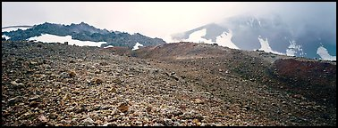 Pumice slopes and misty mountains. Katmai National Park (Panoramic color)