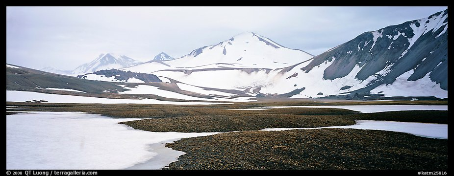 Lichens, snow patches, and snowy peaks. Katmai National Park (color)