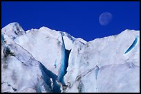 Seracs and moon, Exit Glacier. Kenai Fjords National Park, Alaska, USA.