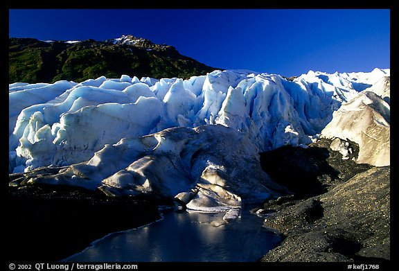 Frozen glacial pond and front of Exit Glacier, early morning. Kenai Fjords National Park (color)