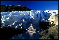 Frozen glacial pond and front of Exit Glacier, early morning. Kenai Fjords National Park, Alaska, USA. (color)