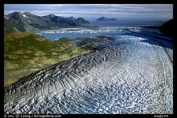 Aerial view of Bear Glacier. Kenai Fjords National Park, Alaska, USA.