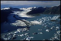 Aerial view of the front of Bear Glacier. Kenai Fjords National Park, Alaska, USA.