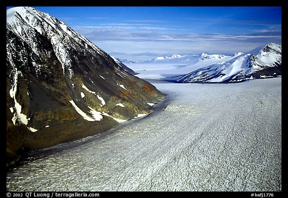 Aerial view of large Alaskan glacier. Kenai Fjords National Park (color)