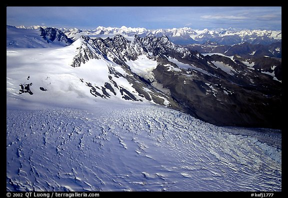 Aerial view of Aialik glacier. Kenai Fjords National Park, Alaska, USA.