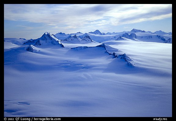 Aerial view of Harding icefield and Nunataks. Kenai Fjords National Park (color)