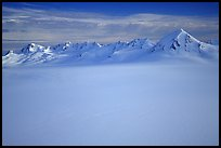 Aerial view of Harding icefield and Nunataks. Kenai Fjords National Park, Alaska, USA. (color)