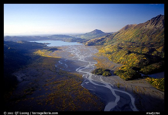 Aerial view of river. Kenai Fjords National Park (color)