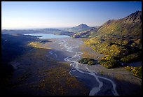 Aerial view of river. Kenai Fjords National Park, Alaska, USA. (color)