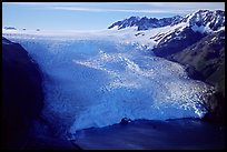 Aerial view of Aialik Glacier front. Kenai Fjords National Park, Alaska, USA. (color)