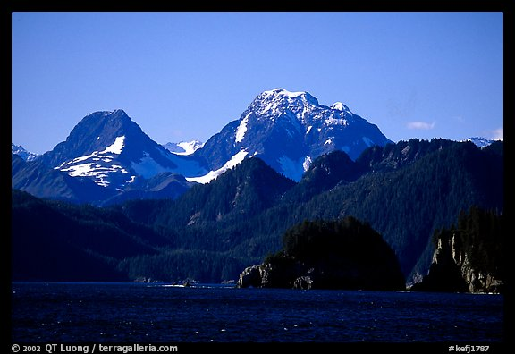 Mountains seen from Aialik Bay. Kenai Fjords National Park (color)
