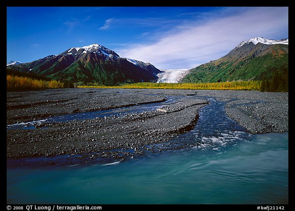 Turquoise Resurrection River and Exit Glacier. Kenai Fjords National Park (color)