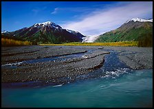 Turquoise Resurrection River and Exit Glacier. Kenai Fjords National Park, Alaska, USA.