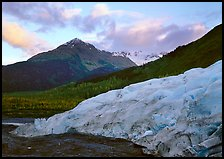 Exit Glacier and mountains at sunset. Kenai Fjords National Park, Alaska, USA. (color)
