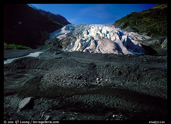 Dark glacial plain floor and Exit Glacier. Kenai Fjords  National Park (color)