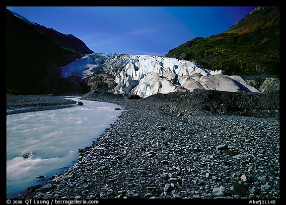Glacial stream at the base of Exit Glacier. Kenai Fjords  National Park (color)
