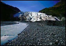 Exit Glacier front and glacial stream. Kenai Fjords National Park, Alaska, USA.