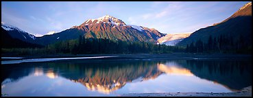 Mountains and glacier reflected in Resurrection River. Kenai Fjords National Park (Panoramic color)
