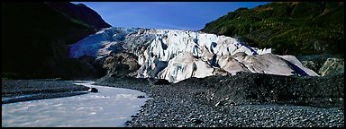 Glacial stream and Exit Glacier. Kenai Fjords National Park, Alaska, USA.