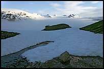 Melting neve in early summer and Harding ice field. Kenai Fjords National Park, Alaska, USA.
