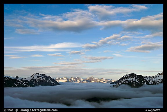 Sea of clouds and Resurection Mountains. Kenai Fjords National Park, Alaska, USA.