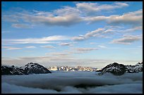 Sea of clouds and Resurection Mountains. Kenai Fjords National Park, Alaska, USA. (color)