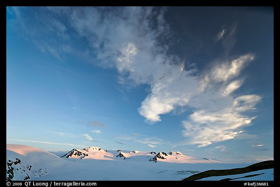 Harding Icefield and clouds, sunset. Kenai Fjords National Park (color)