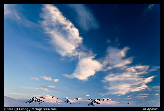 Nunataks and clouds at sunset. Kenai Fjords National Park, Alaska, USA.