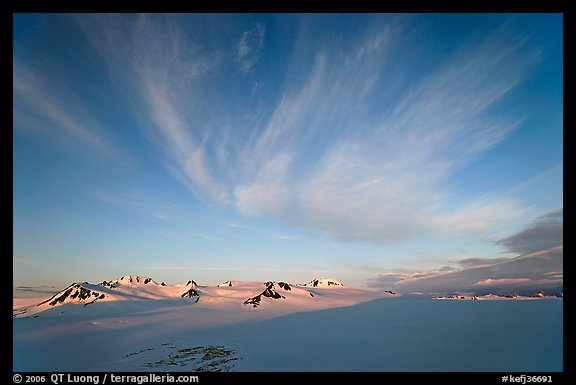 Harding Ice field and clouds, sunrise. Kenai Fjords National Park (color)