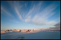 Harding Ice field and clouds, sunrise. Kenai Fjords National Park, Alaska, USA.