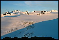 Snow-covered glacier and Harding Ice field peaks, sunrise. Kenai Fjords National Park, Alaska, USA. (color)