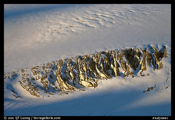 Crevasses uncovered by melting snow. Kenai Fjords National Park (color)
