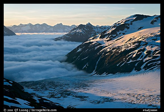 Craggy peaks, glacier, and sea of clouds. Kenai Fjords National Park (color)