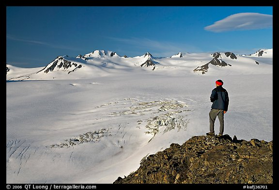 Man looking at the Harding ice field, early morning. Kenai Fjords National Park, Alaska, USA.