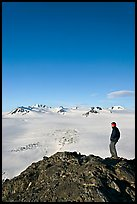 Hiker looking at the Harding icefield. Kenai Fjords National Park, Alaska, USA.
