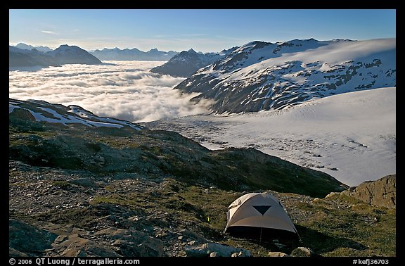 Camping in tent above glacier and sea of clouds. Kenai Fjords National Park (color)