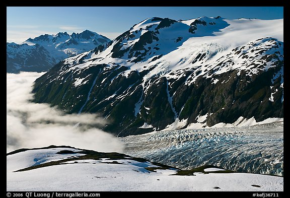 Peaks, glacier, and sea of clouds, morning. Kenai Fjords National Park (color)