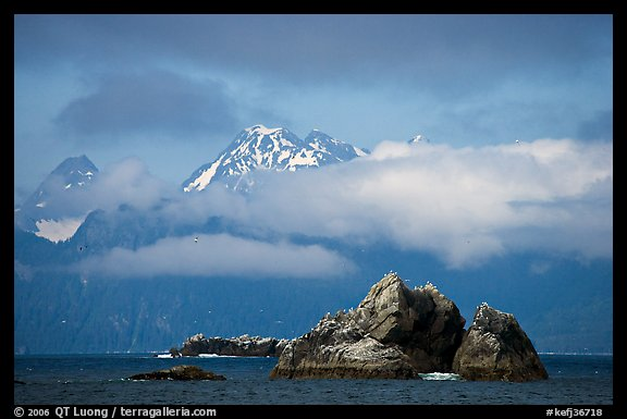 Rocky islets and cloud-shrouded peaks, Aialik Bay. Kenai Fjords National Park (color)